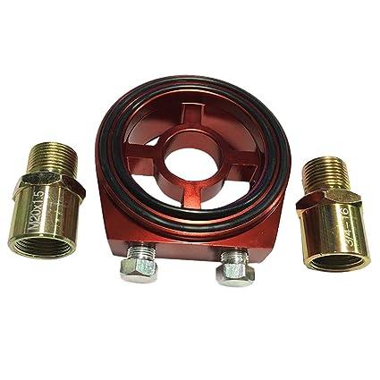 Adaptador de Filtro de Aceite con Guarnicione Enchufe Accesorios Automóvil Motocicleta Coche Barco Repuesto de Recambio Compacto Ligero - Rojo