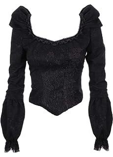 Darkinlove Haut Noir brodé épaulettes Dentelle Royal Vampire Baroque  Gothique da8795c2875