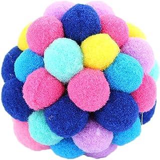 POPETPOP Chat Ball Toy Pet Chaton Jouet Balles avec Cloche Jouet D'entraînement Jouet D'entraînement Son Squeaker Chase Toy (Couleur Aléatoire) Taille L