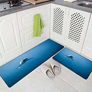 Doocilsh Kitchen Rugs,Kitchen Rugs Washable for Women and Men,17X48+17X24Inches Great White Shark in Pacific Ocean Near The Coast of Island Mexico Carcharias Guadalupe Kitchen Rug