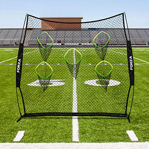 (Forza Football Quarterback Net - 8ft x 8ft Portable Football QB Target Net with Carry Bag and Steel U-Pegs [Net World Sports])