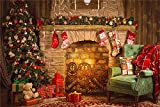 Daniu Christmas Day Backdrops Photo Fireplace Studio Vinyl Chair Photography Backgrounds Xmas 7x5FT