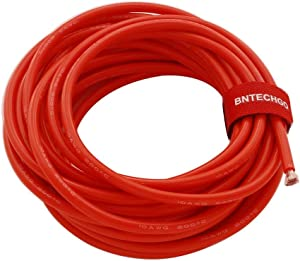 BNTECHGO 10 Gauge Silicone Wire Red 20 ft Ultra Flexible 10 AWG Stranded Tinned Copper Wire