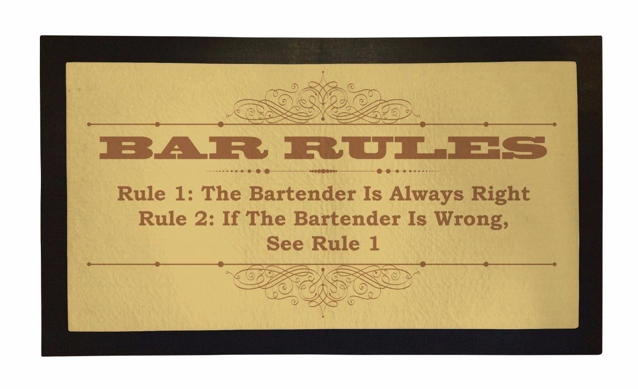 Bang Tidy Clothing Rubber Bar Mat Bar Runner Funny Bar Rules Spill Mat Gift Idea