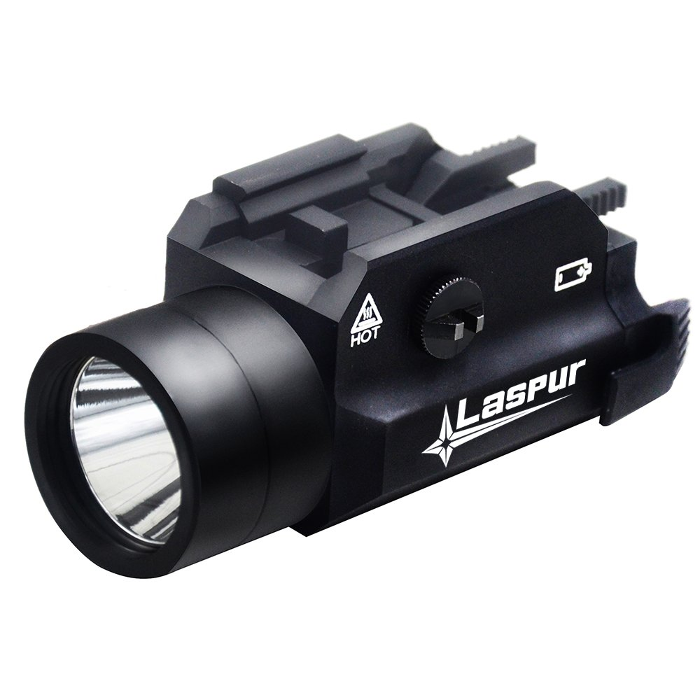 USA LASPUR Weapon Rail Mount CREE LED High Lumen Tactical Flashlight Light with Strobe for Pistol Rifle Handgun Gun, Black