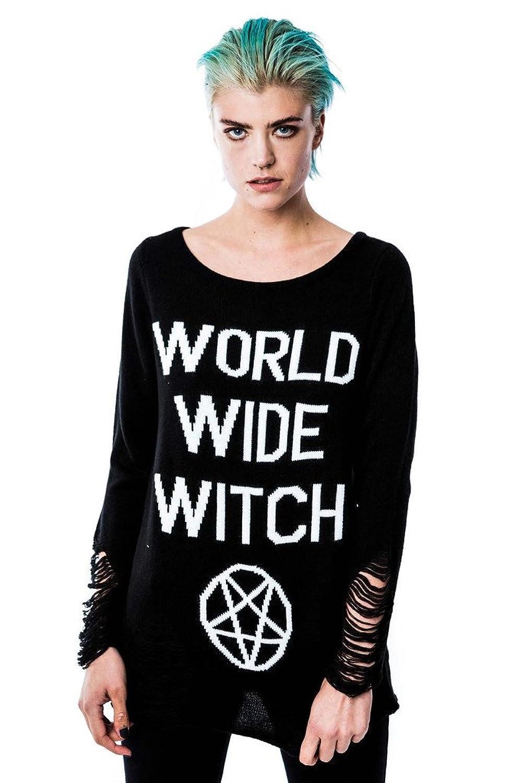 Killstar Gothic Occult Wicca Wolrd Wide Witch Pentagram Knit Sweater