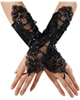 Edith qi Fingerless Pearls Lace Satin Bridal Gloves for Wedding Party Costume