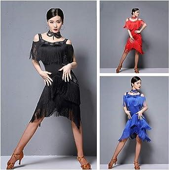 Women Latin Dance Dress Salsa Tango Ballroom Sequins Ruffle Rumba Practice YM0