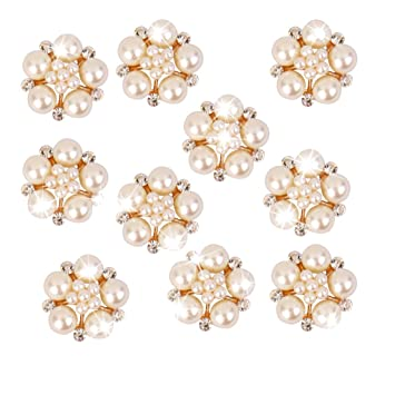 Image Unavailable. Image not available for. Color  10pcs Crystal Rhinestone  Pearl Flower Button Embellishments 25mm 44bbd3415567
