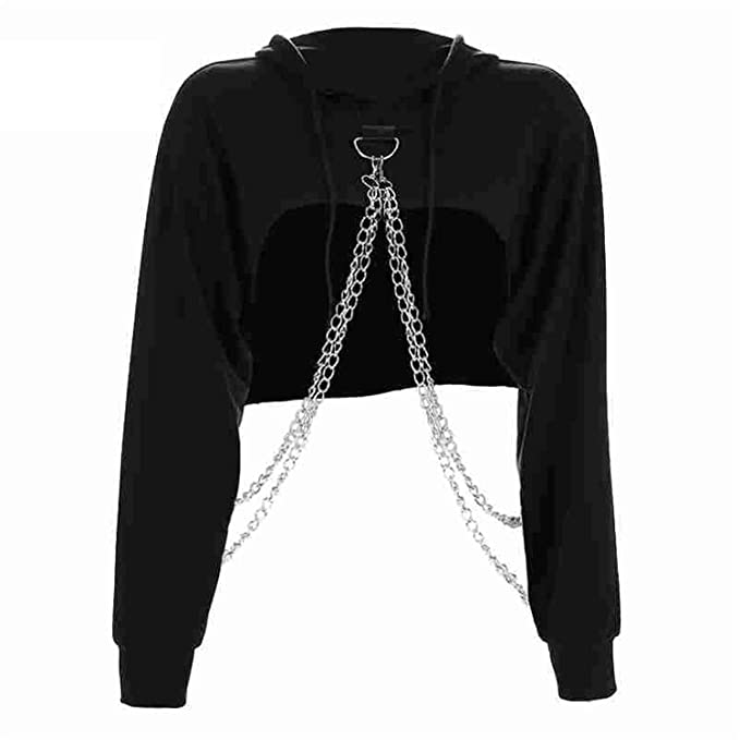 Perfues Cropped Hooded Sweatshirt Women Loose Chain