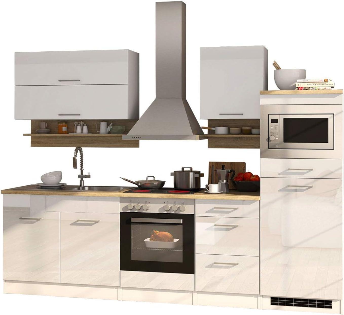 Lifestyle4living - Bloque de cocina con electrodomésticos (270 cm), color blanco brillante y roble: Amazon.es: Hogar