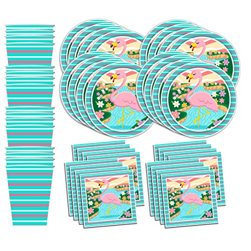 Pink Flamingo Birthday Party Supplies Set Plates Napkins Cups Tableware Kit for 16