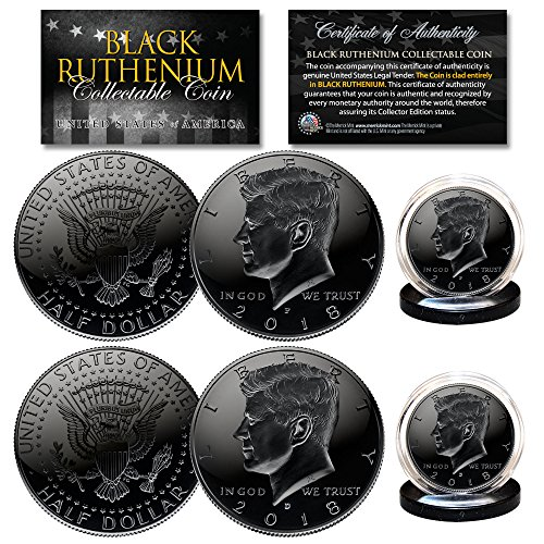 2018 Genuine BLACK RUTHENIUM JFK Kennedy Half Dollar 2-Coin Set BOTH P & D MINT (Mintage Kennedy Dollar Half)