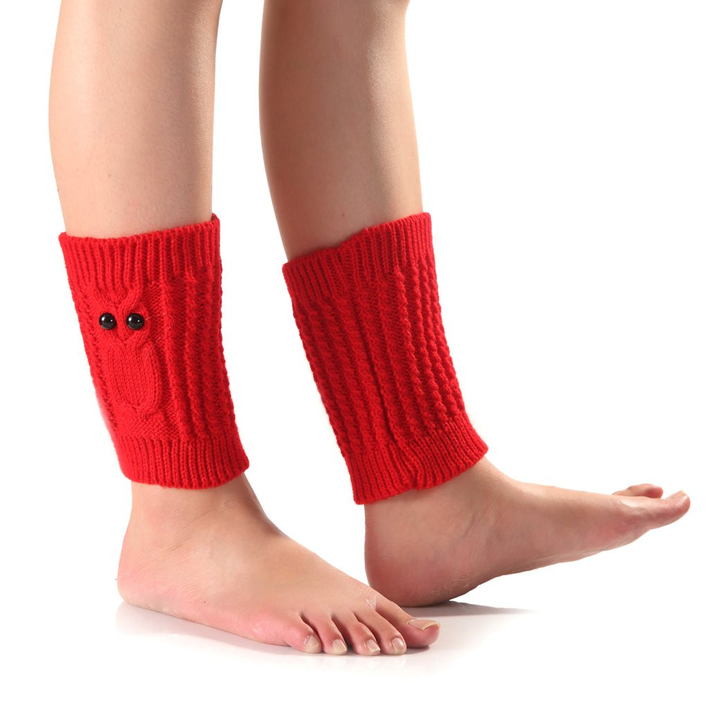 Junlinto, Winter Fashion Crochet Knitted Short Owl Leg Warmers for Women Socks Topper Cuff-HOT Pink