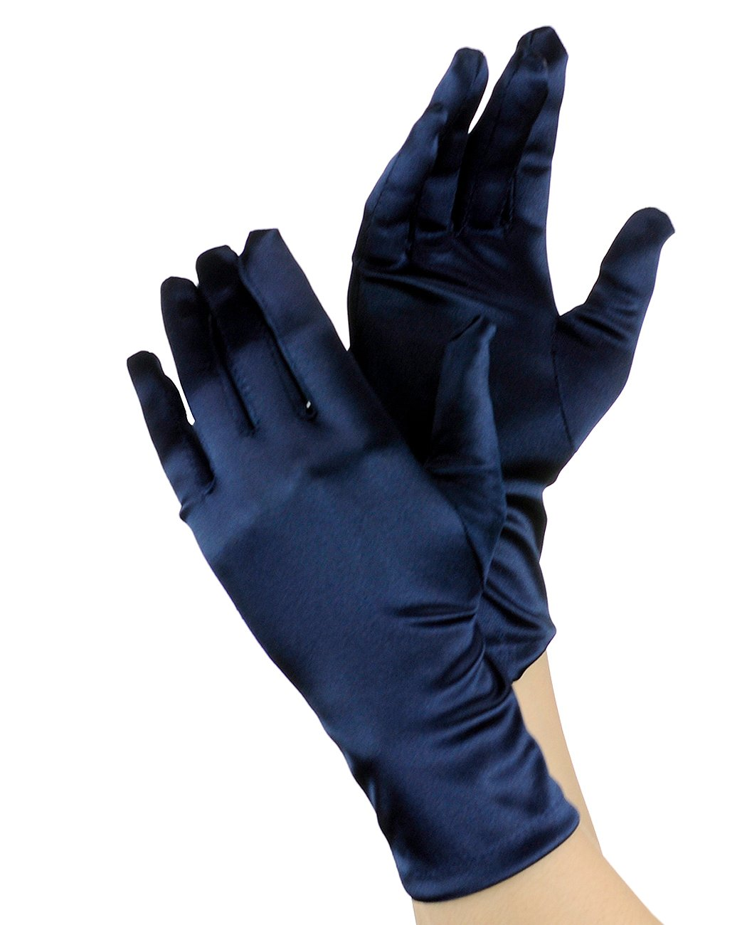 NYFASHION101 Solid Color Classy Elegant Formal Wrist Length Satin Gloves, Jet Black CECI GLV24-BK
