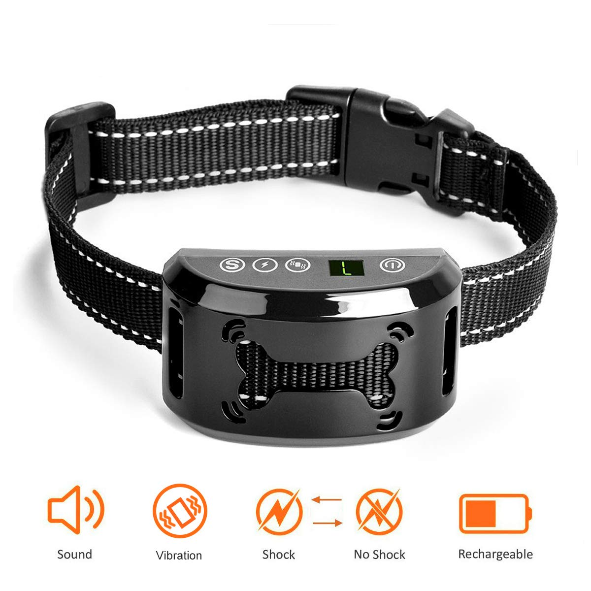 Dog Bark Collar – No Bark Collar – Stop Barking with Beep Vibration Harmless Shock, Rechargeable and Waterproof Humane No Bark Control for Small Medium and Large Dog