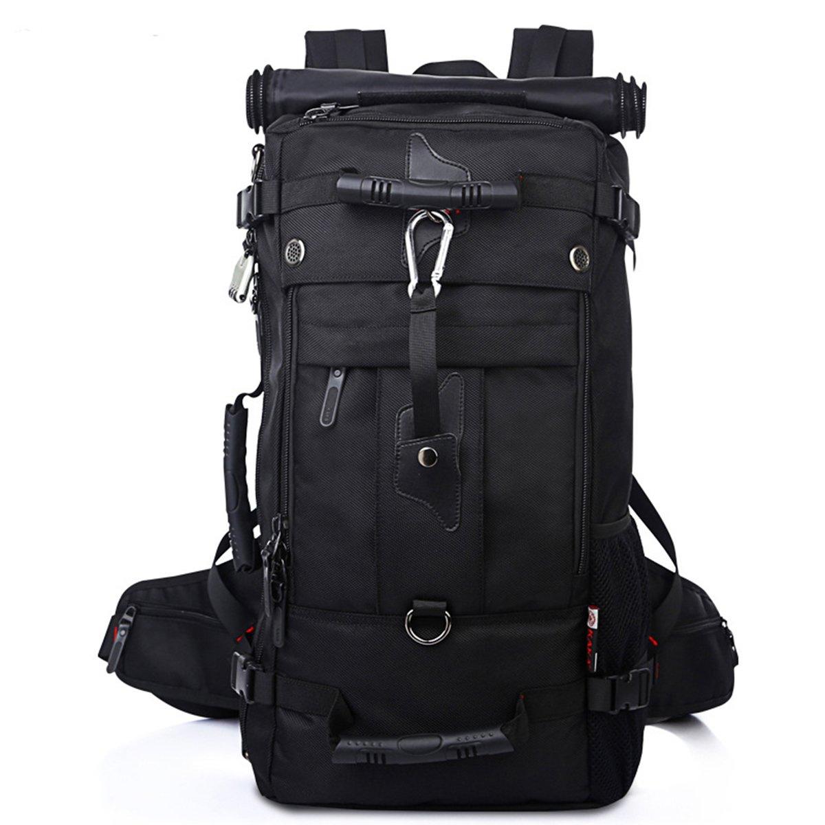 Fanspack ザック アウトドア バッグ 山登り リュック 登山 デイパック 黒 メンズ レディース ポケット 50L 大型 パスワード ロック付き オックスフォード パスワード ロック付き B078MYFW7Q ブラック ブラック