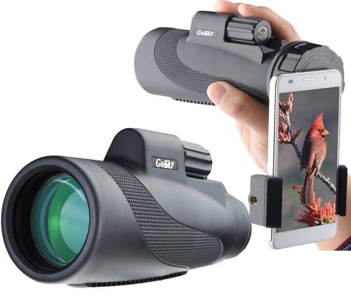 Gosky Titan 12X50 High Power Prism Monocular 単眼 and Quick Smartphone Holder 保有者 (並行輸入品) Titan 12x50 Monocular One Size