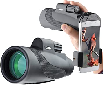 Gosky 12X50 High Power Prism Monocular and Quick Smartphone Adapter-  Waterproof Fog-proof Shockproof Scope -BAK4 Prism FMC for Bird Watching  Hunting