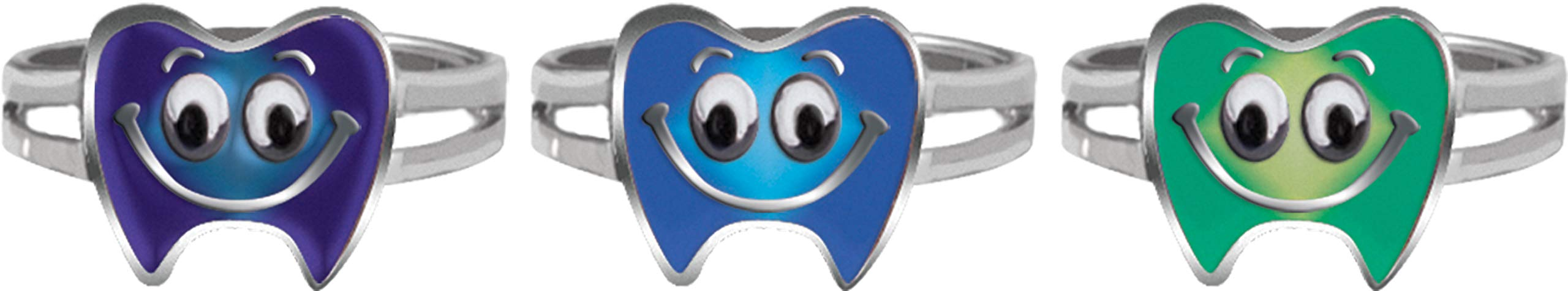 Giggle Time Kid's Tooth Mood Ring Assortment - (36) Pieces - Party Favors, Pinata Fillers, Gift Bags, Carnival Prizes, School Incentives