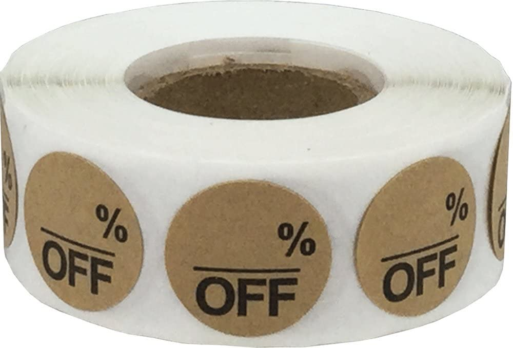 Kraft Natural Marrón Blanco% de Descuento en la Venta de Pegatinas, 19 mm 3/4 Pulgadas Etiquetas de Venta al por Menor 500 Paquete