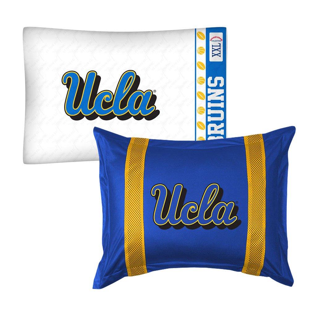 2pc NCAA UCLA Bruins Pillowcase and Pillow Sham Set College Team Logo Bedding Accessories