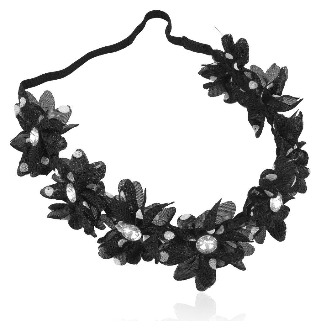 Lux Accessories Black White Chiffon Polka Dot Crystal Floral Flower Stretch Headband Head Band
