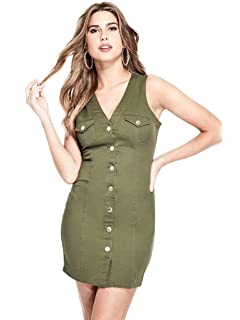G by GUESS Womens Kiki Front Button Sleeveless Colored Denim Summer Dress
