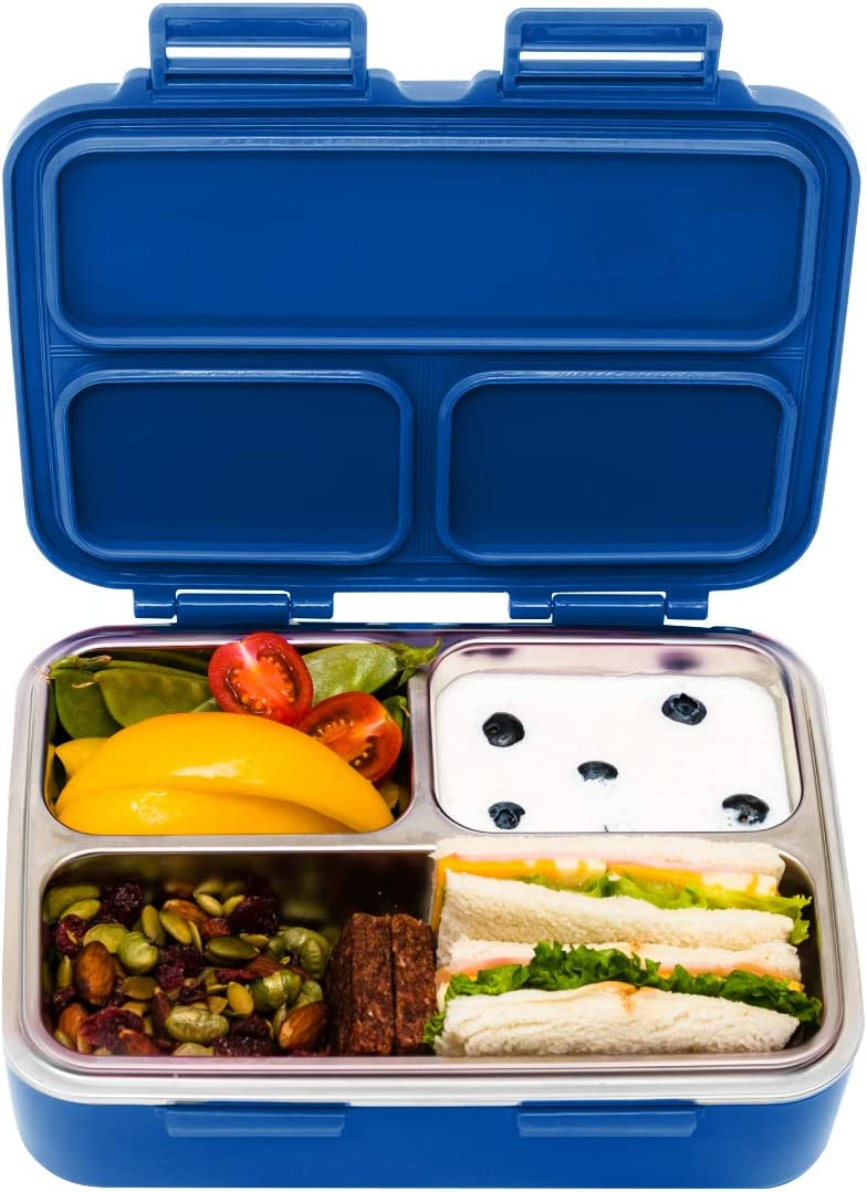 SkyeBox Stainless Steel Leakproof Bento Box Lunch Box – co-founded by our own daughter Skye - Food-Safe Materials – Royal Blue – used for Adults and Kids Bento