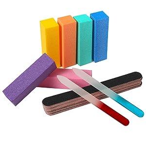 QRTVI 14PCS Nail Files and Buffers Kit Professional Glass Nail Files Manicure Tools Kit Rectangular Art Care Buffer Block Tools 100/180 Grit