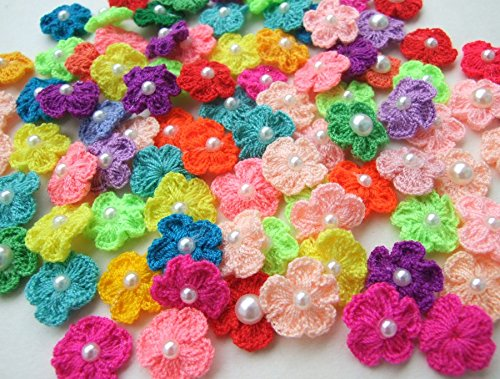 ICRAFY #039s Brand 100 Pcs Assorted Tiny Crochet Flower with Pearl Fabric Cotton Satin Craft Sewing Appliques DIY Diameter 12 mm