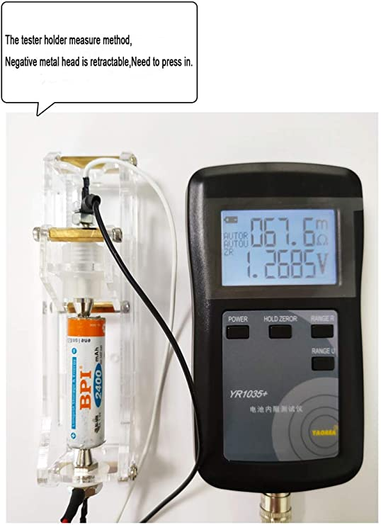 Alkaline Lithium Iron Phosphate Lithium Ion Lithium Polymer Dry Battery 4 Wire System YR1035 Battery Internal Resistance Tester with Leads LCD Display for Lead Acid