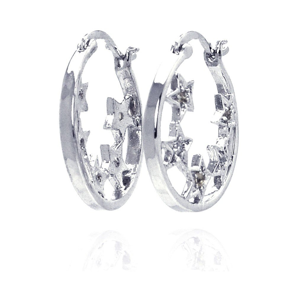Clear Cubic Zirconia Hoop Star EarringsRhodium Plated Sterling Silver