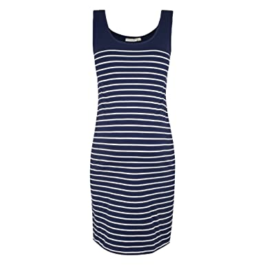 Breton Stripe Sleeveless Maternity Dress, Scoop Neck