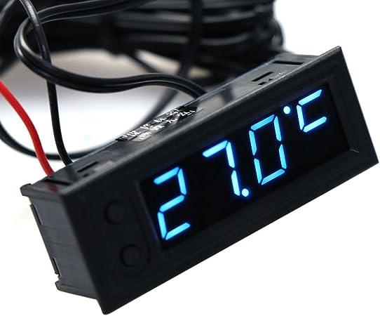 Cuigu 3 en 1 Multifonction Haute Pr/écision Horloge /à lint/érieur et /à lext/érieur de la Temp/érature de la Voiture Batterie Moniteur de Tension Voltm/ètre du Panneau M/ètre 12V Bleu