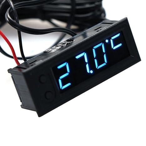 zzqyis 12V Termómetro Digital Multifuncional del Voltímetro del Reloj de Alarma del Monitor Pantalla LED(