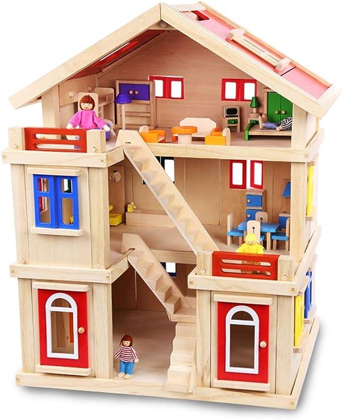 Casas de muñecas, 75x56x43.5cm casa de muñecas for niños Muñecas Casa de la Parte Alta casa de muñecas Rojo Educación Divertida y decoración (Color : Red, Size : 75x56x43.5cm): Amazon.es: Hogar