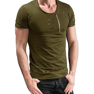 3fad88e62627b Aritone Newest Men s Loose Short Sleeve T Shirt Print Hole Casual Blouse  Tops