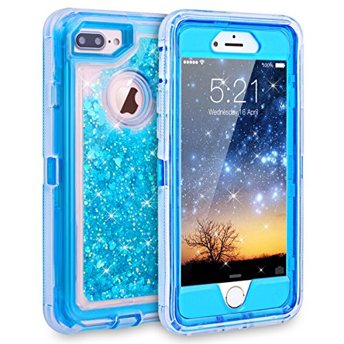 iPhone 7 Plus Case, Dexnor Glitter 3D Bling Sparkle Flowing Liquid Case Transparent 3 in 1 Shockproof TPU Silicone Core + PC Frame Cover for iPhone 7 Plus/6s Plus/6 Plus - Blue