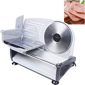 Electric Food Slicer, 110V Commercial Automatic Meat Slicer Machine Adjustable Slice thickness 0-15mm with 19cm/7.5'' Removable Stainless Steel Blade for Frozen & Deli Meat Cheese Bread Cutting
