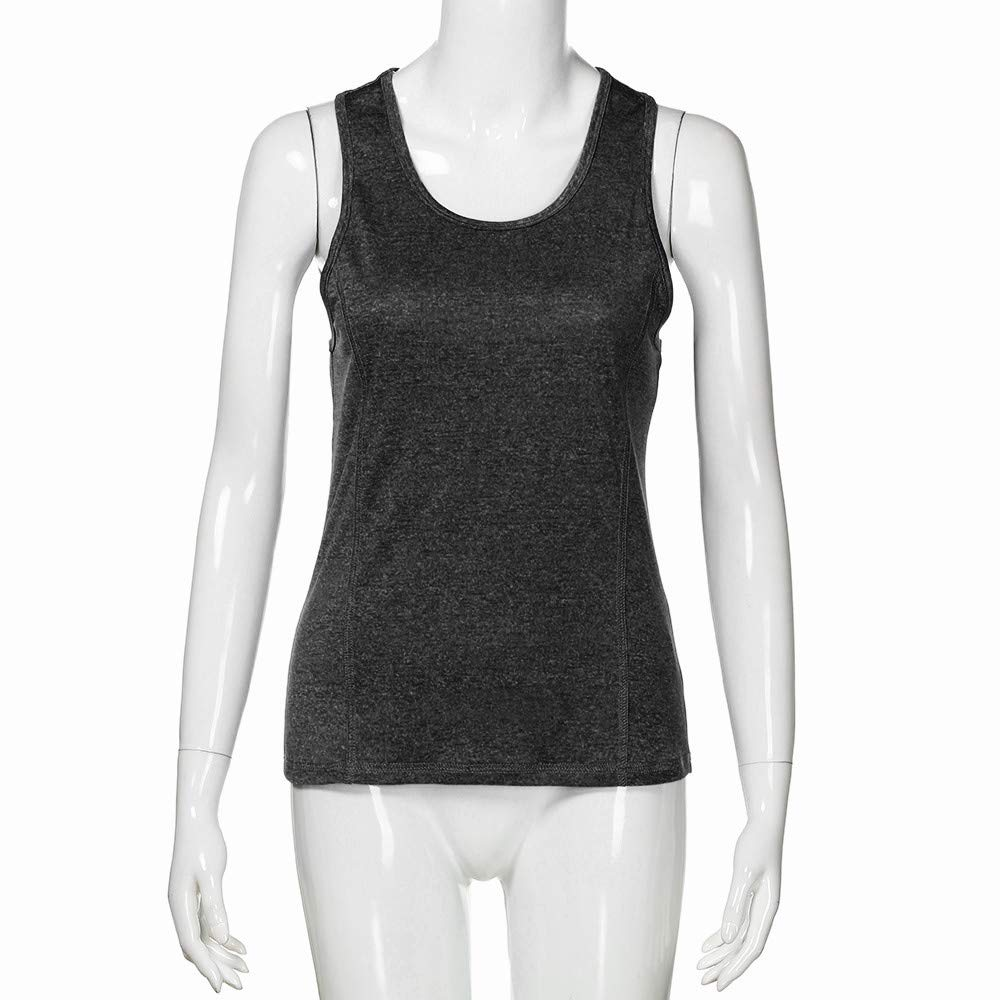 iLUGU Women Activewear Running Square Neck Vest Top Workouts Yoga Knit Hat Cami Sport Racerback Tank Sleeveless Blouse Shirt Black by iLUGU (Image #3)