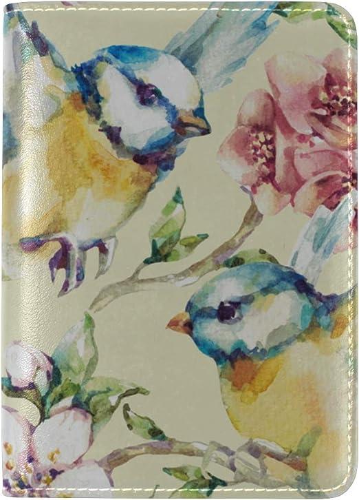 Girly Passport Cover Cute Retro Spring Paper Bird Love Case Passport Men Multi Purpose Print Vintage Passport Cover Travel Wallets For Unisex 5.51x4.37 Inch