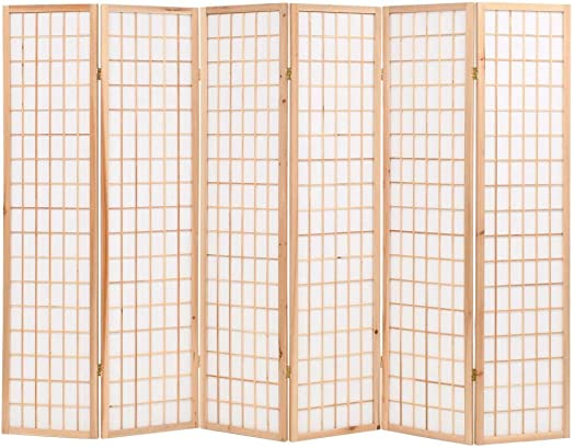 vidaXL Folding 6-Panel Room Divider Japanese Style Dressing Screen Privacy Screen Paravent Living Room Furniture Room Decor Durable 94.5 Natural