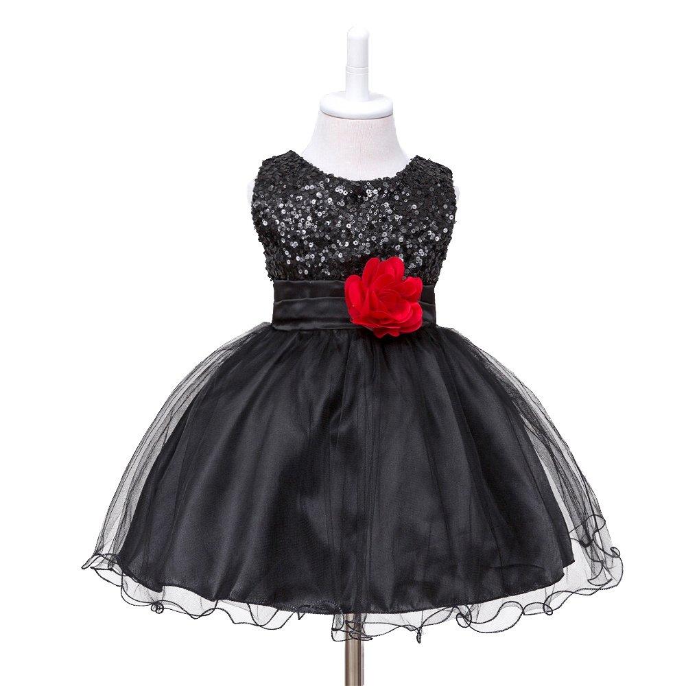 HUANQIUE Baby Girls Wedding Pageant Dress Princess Tutu Dress Black 2-3Y