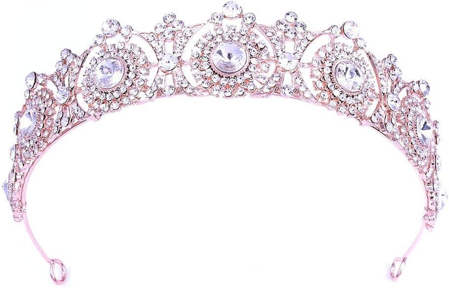 クラウン 結婚式の王冠および女の子のためのティアラの女王のラインストーンの水晶鉢巻き 結婚式の婚約ボールに適しています (Color : Rose gold, Size : 14*3.2cm)