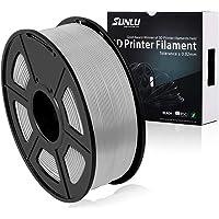 SUNLU 3D Printer Filament PLA+,PLA+ Filament 1.75 mm, Low Odor Dimensional Accuracy +/- 0.02 mm 3D Printing Filament,2.2 LBS (1KG) Spool 3D Printer Filament for 3D Printers & 3D Pens,Silver