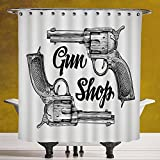 Polyester Shower Curtain 3.0 by SCOCICI [ Western,Modern Western Movies Cowboy Texas Times Sketchy Style Two Guns Pistols,Black Pale Grey ] Waterproof and Mildewproof Polyester Fabric Bath Curtain Des