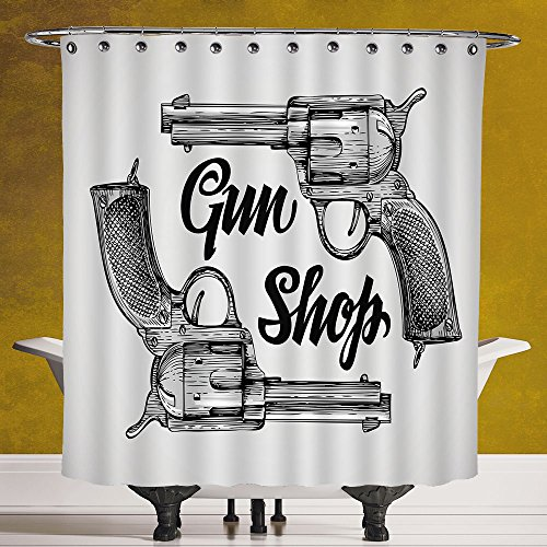 Polyester Shower Curtain 3.0 by SCOCICI [ Western,Modern Western Movies Cowboy Texas Times Sketchy Style Two Guns Pistols,Black Pale Grey ] Waterproof and Mildewproof Polyester Fabric Bath Curtain Des by SCOCICI