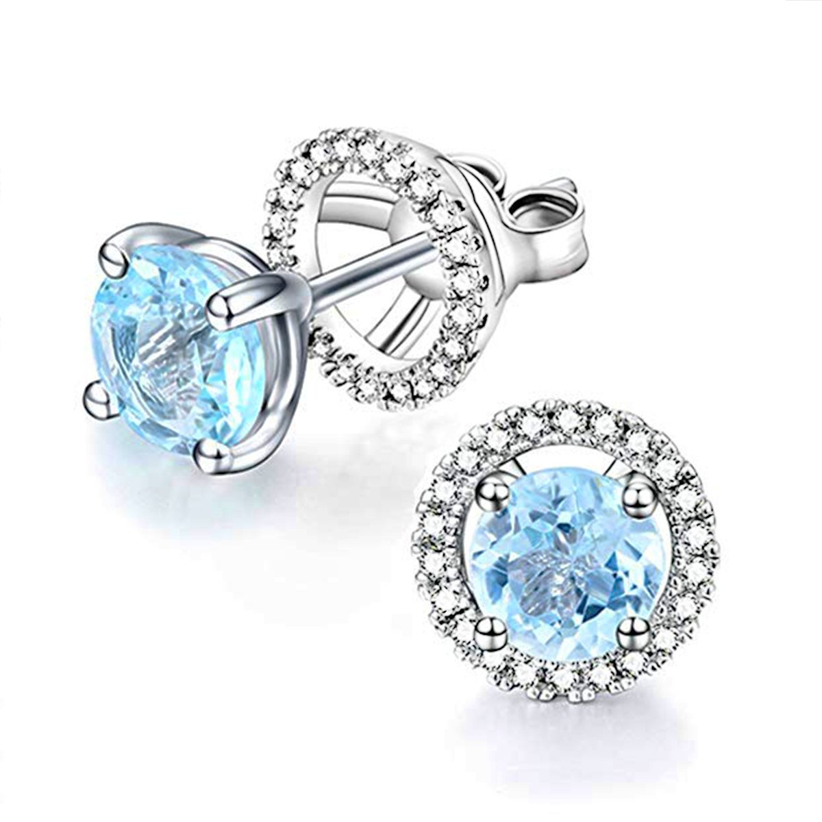 925 Silver November Birthstone Blue Topaz Removable Earrings CZ Halo Jacket Studs for Girls Women Hypoallergenic by EL UNO