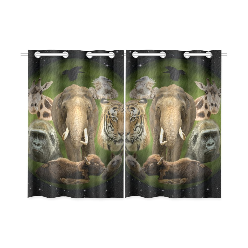 your-fantasia Planet Earth with Animals in the Universe Window Curtain Kitchen Curtain Two Pieces 26 x 39 inches